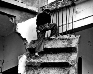 What remains of his home's staircase, Gaza Strip 2009