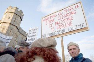 Protesting a JNF fundraiser at Windsor Castle UK
